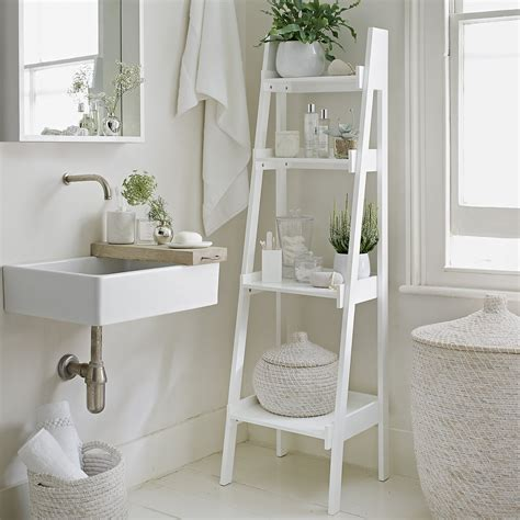 Bathroom Shelves White Bathroom Ladder Shelf White Goodglance