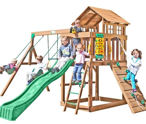 creative play swing sets creative playthings playtime eagle point wooden swing set