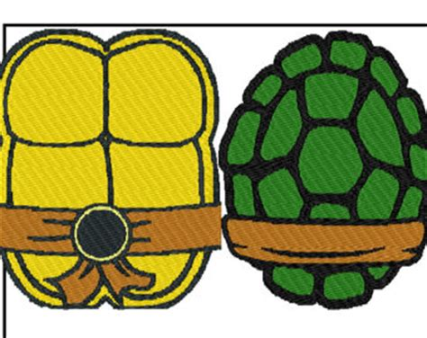 2 patterns ninja turtle shells front back embroidery