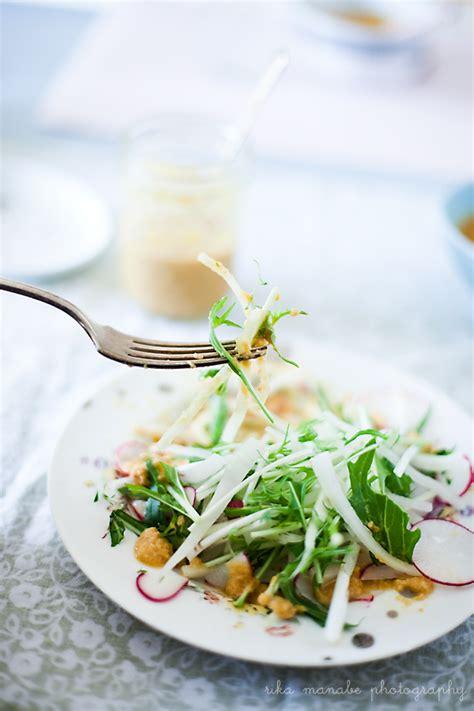 bella bonito spring salad  carrot ginger miso dressing