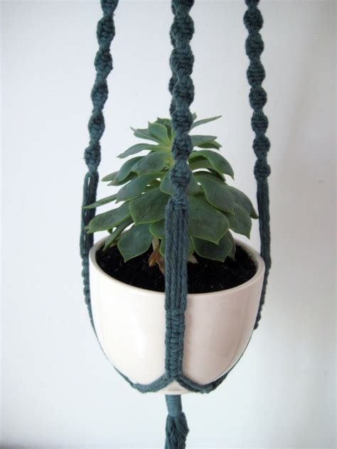 Small Macrame Plant Hanger - items similar to macrame plant hanger small forest green