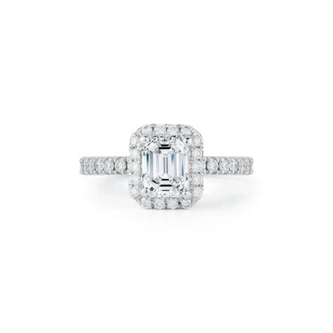 emerald cut diamond halo engagement ring marshall pierce