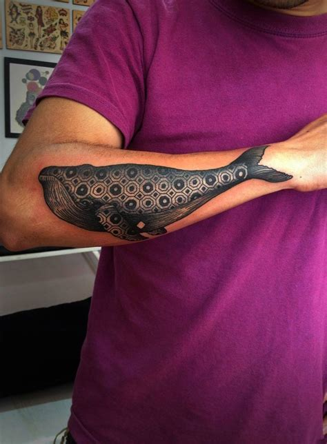 whale tattoo black ink whale skeleton on left arm
