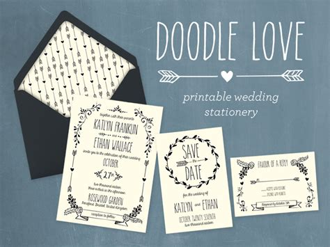 doodle wedding stationery whimsical diy wedding invitation collection