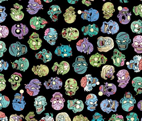 zombie pattern fabric zombie heads black fabric by id designs on spoonflower