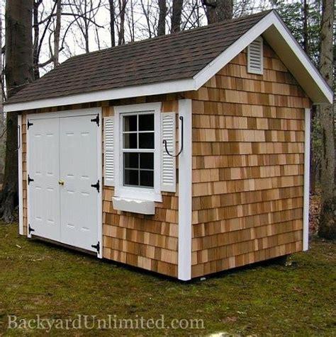garden shed  cedar shake siding fiberglass