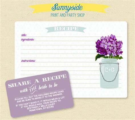 75 recipe card 75 recipe card set with jar you choose flower