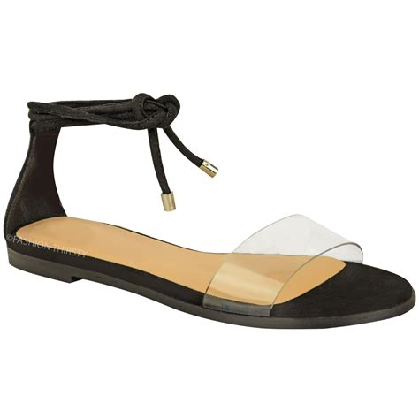 ankle tie flat sandals new womens flat ankle tie up sandals summer perspex