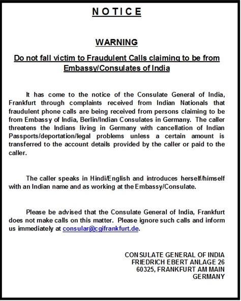 Visa Warning Letter Welcome To Consulate General Of India Frankfurt Germany