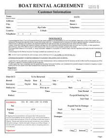 Monthly Car Rental Agreement Sle Excellent Boat Rental Agreement Template With Blank Form