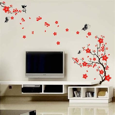 wall stickers and murals blossom flowers tree wall stickers mural decal self adhesive wallpaper decor ebay