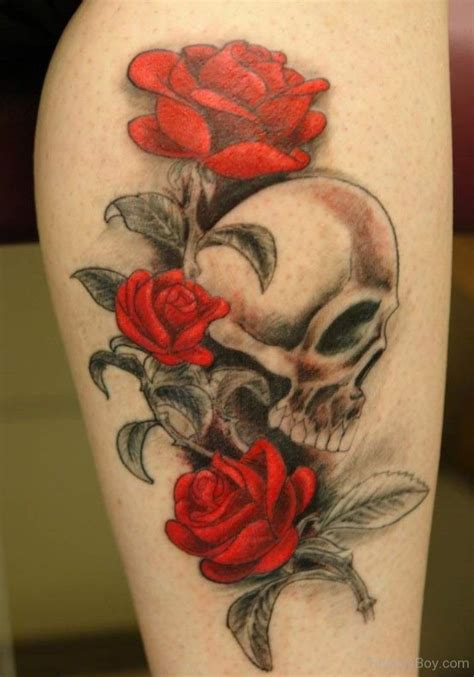 skull and rose tattoo on thigh flower tattoos designs pictures page 3