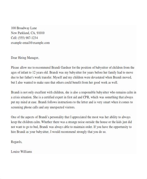 5 babysitter reference letter templates free sample