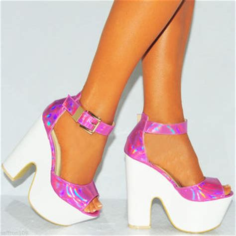 High Heels Wadges Lld 354 ankle cuff platforms chunky block heel from saffron109 on ebay