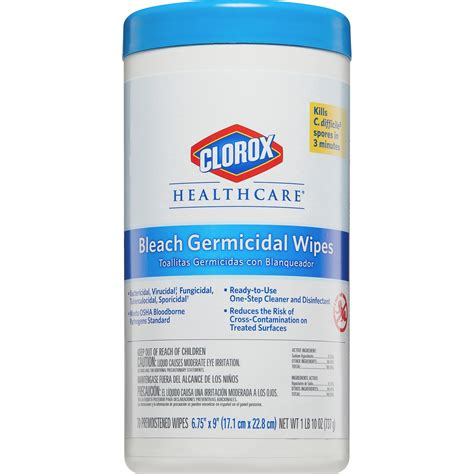 clorox healthcare bleach germicidal wipes     unscented canister walmartcom