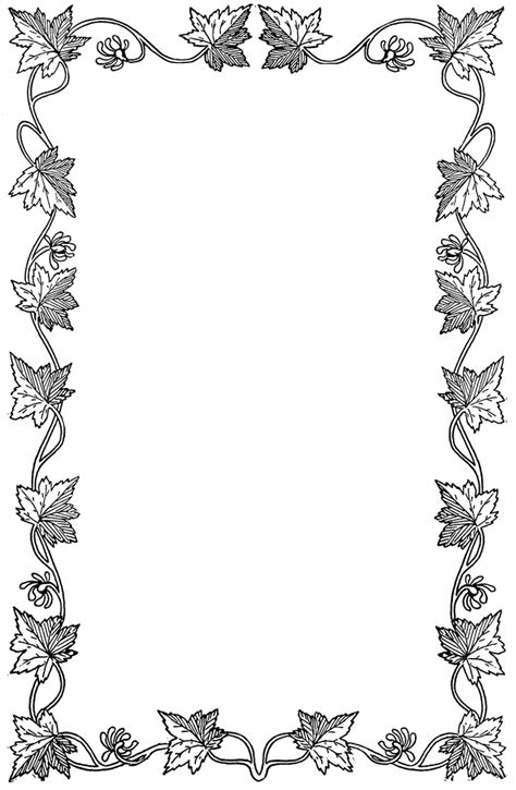fall coloring page borders autumn borders black and white clipart