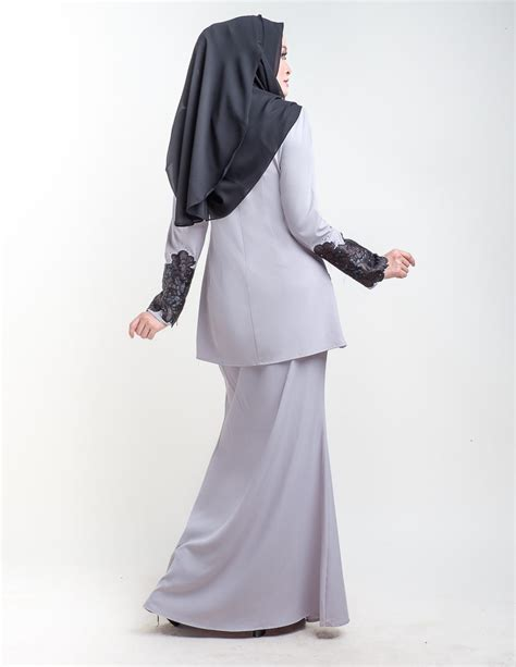 Organza Baju Kurung baju kurung moden organza grey