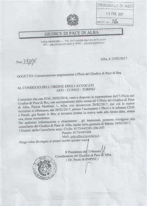 ufficio giudice di pace torino comunicazione soppressione ufficio giudice di pace di
