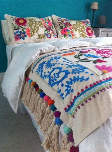 mexican embroidered bedding traditional boho folklore folk art floral embroidered