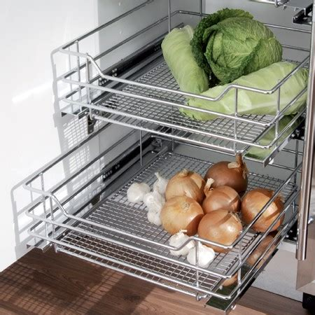 kukoo 4 x kitchen pull out baskets 500mm wide cabinet soft close wire storage metal drawers vauth sagel pull out chrome wire mesh basket for hinged