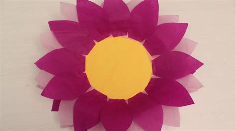 Craft Work Paper Flowers - how to make paper plate and tissue paper flower