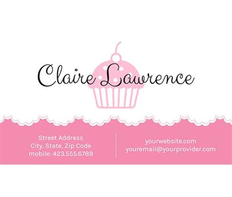 cupcake business card template this doily and cupcake business card template and