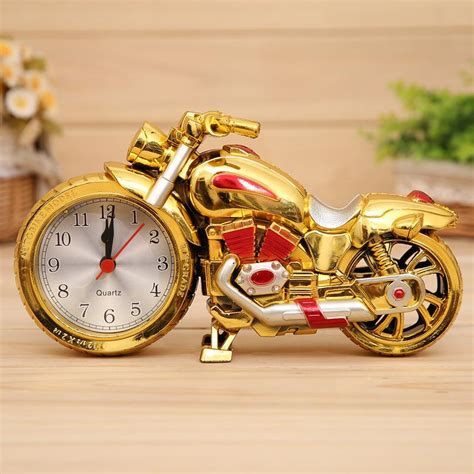 creative clock unique stylish motorcycle clock  dial analog alarm clock golden red