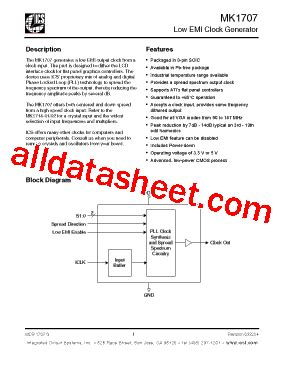 integrated circuits pdf file mk1707s datasheet pdf integrated circuit systems