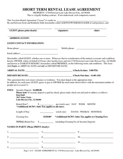 term rental agreements lease agreement 100 template for ending tenancy