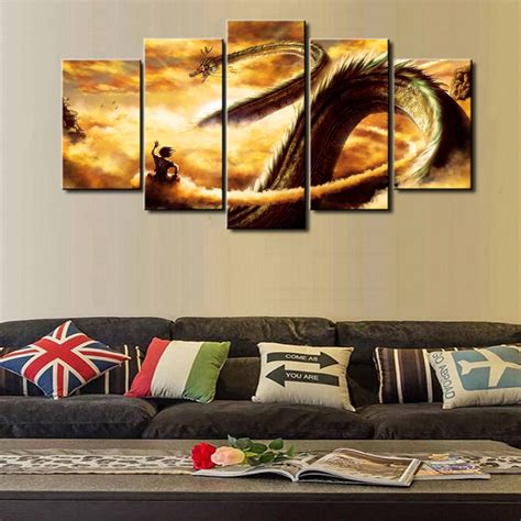 home decor wall paintings dbz new hot sel 5 piece modular home decor wall art dragon