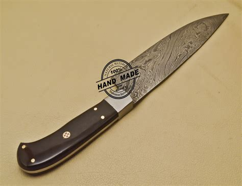 kitchens knives custom handmade damascus steel chef kitchen knife with buffalo horn