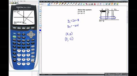 linear systems solving with graphing calculator graph and