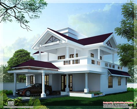 home design for roof 2600 sq feet modern sloping roof home design kerala home