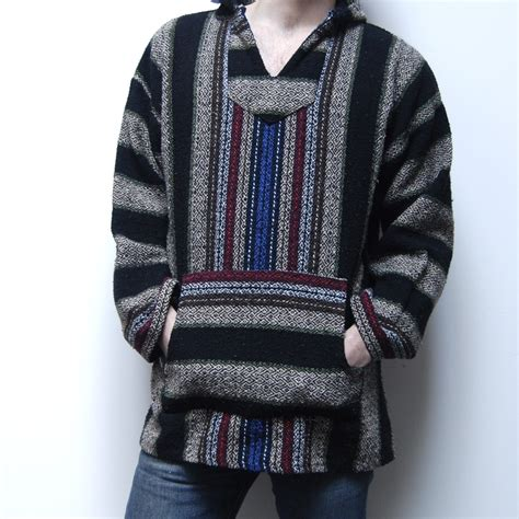 rug jacket vintage 80s baja pullover mexican woven rug hoodie jacket