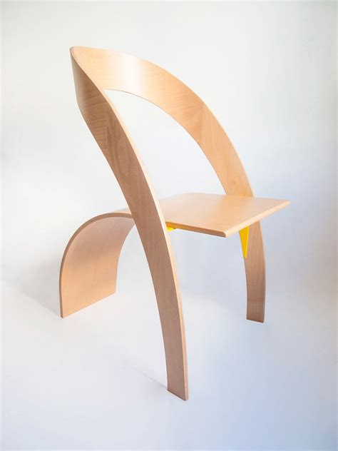 minimalist plywood chair  flowing form counterpoise