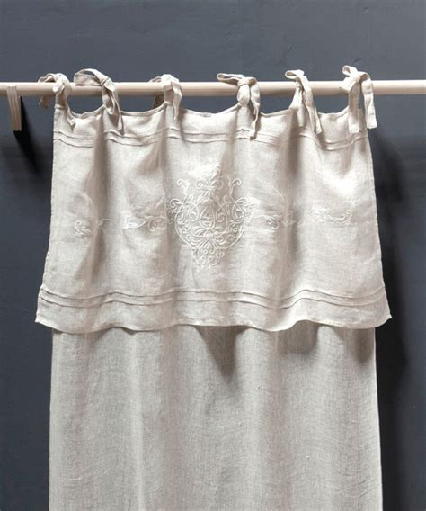 Tie Top Curtains Curtain Panel Classica Tie Top Linen Voile Farmhouse Curtains By Bliss Home And Design