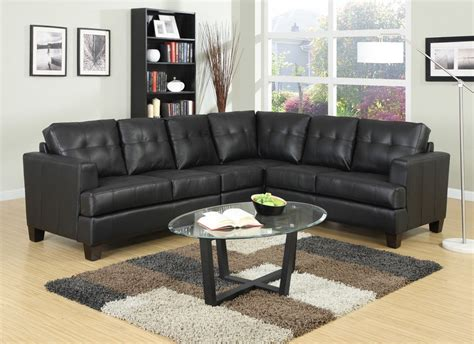 Toronto Tufted Black Leather L Shaped Sectional Sofa at