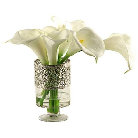 white calla lilies 18 quot w faux flowers in glass vase