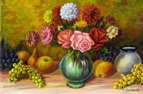 vasi di frutta quadro di ettore quintavalla frutta e vaso di fiori