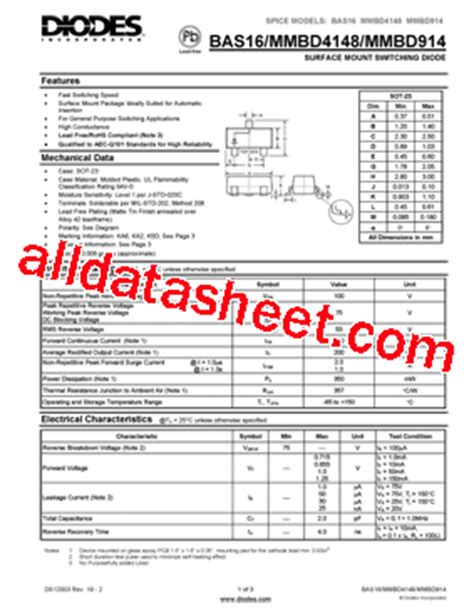 diodes inc bat54 7 f mmbd4148 7 f datasheet pdf diodes incorporated