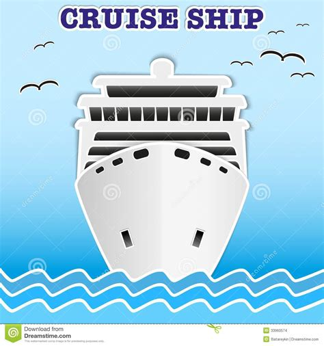Origami Cruise Ship - illustration of sea cruise passenger liner stock vector