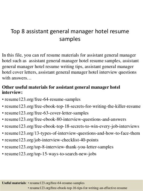 Assistant General Manager Sle Resume by Top 8 Assistant General Manager Hotel Resume Sles