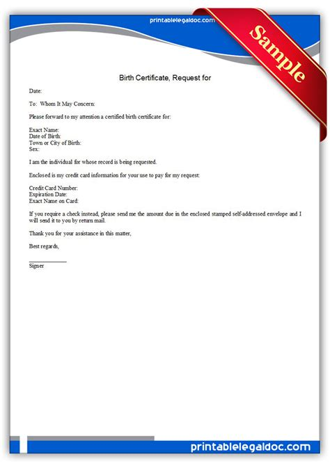 birth certificate letter request free printable request for birth certificate form generic