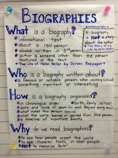 biography book for 4th grade biography anchor chart reading writing skills
