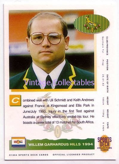 bid or bay rugby springboks 1994 rugby card willie 6 90