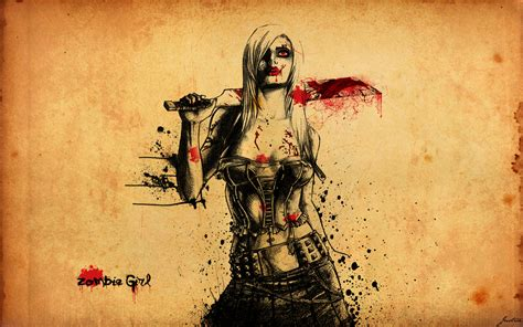 hot zombie girl wallpaper download the zombie girl with knife wallpaper zombie girl
