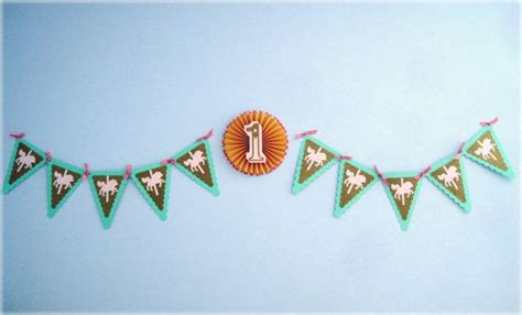 Flag Banner Pony scallop edge bunting flags carousel banner with paper rosette in pink mint gold polka