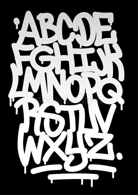 hand written graffiti font alphabet stock vector