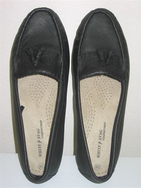 new white stag comfort moccasins womens black 8