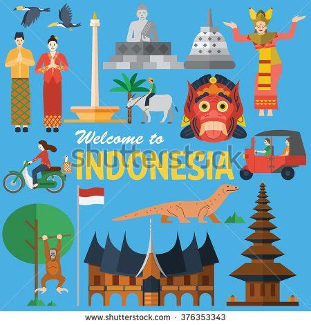 indonesia design vector flat design illustration of indonesia icons and landmarks